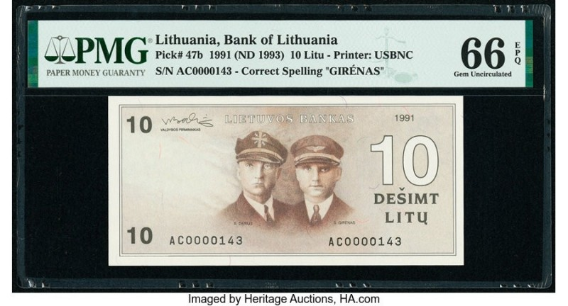 Lithuania Bank of Lithuania 10 Litu 1991 (ND 1993) Pick 47b PMG Gem Uncirculated...