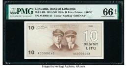 Lithuania Bank of Lithuania 10 Litu 1991 (ND 1993) Pick 47b PMG Gem Uncirculated 66 EPQ. Low serial number 143.  HID09801242017  © 2020 Heritage Aucti...
