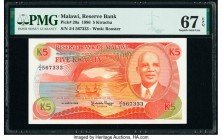 Malawi Reserve Bank of Malawi 5 Kwacha 1.3.1986 Pick 20a PMG Superb Gem Unc 67 EPQ.   HID09801242017  © 2020 Heritage Auctions | All Rights Reserve