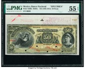 Mexico Banco Nacional de Mexicano 50 Pesos ND (1885-1913) Pick S260s Specimen PMG About Uncirculated 55 EPQ. Selvage included; five POCs; red Specimen...