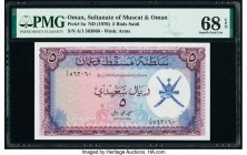 Oman Sultanate of Muscat and Oman 5 Rials Saidi ND (1970) Pick 5a PMG Superb Gem Unc 68 EPQ.   HID09801242017  © 2020 Heritage Auctions | All Rights R...
