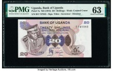 Uganda Bank of Uganda 20 Shillings ND (1973) Pick 7a PMG Choice Uncirculated 63. Minor thinning.  HID09801242017  © 2020 Heritage Auctions | All Right...