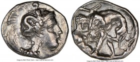 CALABRIA. Tarentum. Ca. 380-280 BC. AR diobol (12mm, 4h). NGC XF. Head of Athena right, wearing crested Attic helmet decorated with figure of Scylla h...