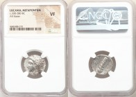 LUCANIA. Metapontum. Ca. 330-280 BC. AR stater (20mm, 1h). NGC VF. Dori- and Da-, magistrates. Head of Demeter left, wreathed with grain; ΔΩPI below c...
