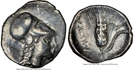 LUCANIA. Metapontum. Ca. 325-275 BC. AR diobol (12mm, 7h). NGC Choice VF, brushed. Head of Athena right, wearing Corinthian helmet pushed back on head...