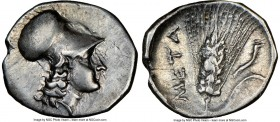 LUCANIA. Metapontum. Ca. 325-275 BC. AR diobol (13mm, 6h). NGC Choice VF, brushed. Head of Athena right, wearing Corinthian helmet pushed back on head...