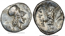 LUCANIA. Metapontum. Ca. 325-275 BC. AR diobol (13mm, 5h). NGC Choice VF, brushed. Head of Athena right, wearing Corinthian helmet pushed back on head...