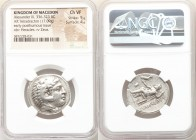 MACEDONIAN KINGDOM. Alexander III the Great (336-323 BC). AR tetradrachm (27mm, 17.09 gm, 2h). NGC Choice VF 5/5 - 4/5. Posthumous issue of Pella, und...