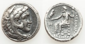 MACEDONIAN KINGDOM. Alexander III the Great (336-323 BC). AR tetradrachm (26mm, 16.58 gm, 6h). About VF, porosity, graffiti. Lifetime issue of Cilicia...
