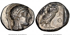 ATTICA. Athens. Ca. 440-404 BC. AR tetradrachm (25mm, 17.18 gm, 1h). NGC Choice AU 5/5 - 4/5. Mid-mass coinage issue. Head of Athena right, wearing cr...
