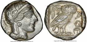 ATTICA. Athens. Ca. 440-404 BC. AR tetradrachm (24mm, 17.20 gm, 11h). NGC Choice AU 5/5 - 4/5. Mid-mass coinage issue. Head of Athena right, wearing c...