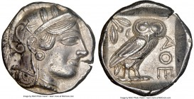 ATTICA. Athens. Ca. 440-404 BC. AR tetradrachm (24mm, 17.17 gm, 7h). NGC AU 5/5 - 4/5. Mid-mass coinage issue. Head of Athena right, wearing crested A...