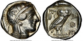 ATTICA. Athens. Ca. 440-404 BC. AR tetradrachm (23mm, 17.21 gm, 4h). NGC AU 5/5 - 4/5. Mid-mass coinage issue. Head of Athena right, wearing crested A...
