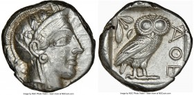 ATTICA. Athens. Ca. 440-404 BC. AR tetradrachm (23mm, 17.20 gm, 12h). NGC Choice XF 4/5 - 4/5, brushed. Mid-mass coinage issue. Head of Athena right, ...