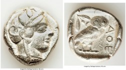 ATTICA. Athens. Ca. 440-404 BC. AR tetradrachm (25mm, 17.13 gm, 8h). VF. Mid-mass coinage issue. Head of Athena right, wearing crested Attic helmet or...