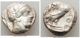 ATTICA. Athens. Ca. 440-404 BC. AR tetradrachm (25mm, 17.12 gm, 4h). Choice VF, bent, marks. Mid-mass coinage issue. Head of Athena right, wearing cre...