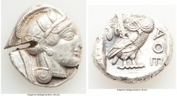 ATTICA. Athens. Ca. 440-404 BC. AR tetradrachm (26mm, 17.17 gm, 3h). Choice VF, test cut. Mid-mass coinage issue. Head of Athena right, wearing creste...