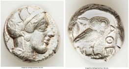 ATTICA. Athens. Ca. 440-404 BC. AR tetradrachm (24mm, 16.86 gm, 2h). VF. Mid-mass coinage issue. Head of Athena right, wearing crested Attic helmet or...