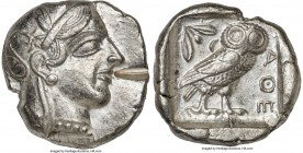 ATTICA. Athens. Ca. 440-404 BC. AR tetradrachm (25mm, 17.20 gm, 4h). XF. Mid-mass coinage issue. Head of Athena right, wearing crested Attic helmet or...