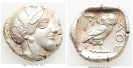 ATTICA. Athens. Ca. 440-404 BC. AR tetradrachm (26mm, 17.13 gm, 1h). XF. Mid-mass coinage issue. Head of Athena right, wearing crested Attic helmet or...