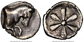 AEOLIS. Cyme. 4th century BC. AR hemiobol (8mm). NGC Choice VF, edge cuts. Forepart of horse right / Floral pattern of six petals. SNG Copenhagen 34 v...