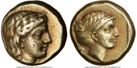 LESBOS. Mytilene. Ca. 377-326 BC. EL sixth-stater or hecte (10mm, 2.52 gm, 11h). NGC XF 5/5 - 3/5. Laureate head of Apollo right / Head of Artemis rig...