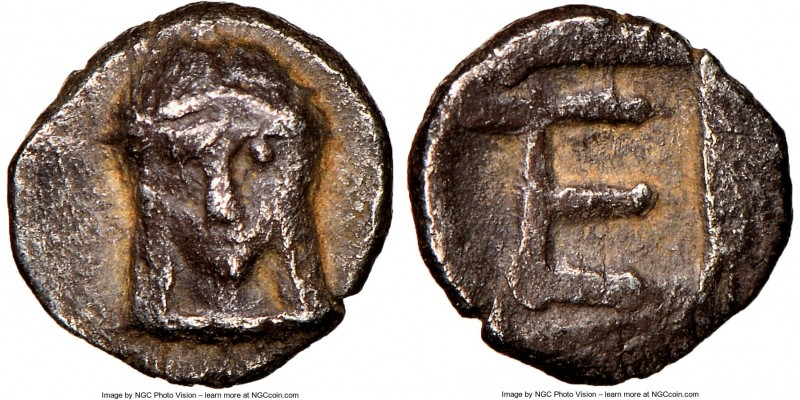 IONIA. Colophon. Ca. 6th century BC. AR tetartemorion (6mm, 12h). NGC VF. Head o...