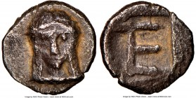 IONIA. Colophon. Ca. 6th century BC. AR tetartemorion (6mm, 12h). NGC VF. Head of Apollo facing / TE (mark of value) in shallow incuse square. SNG Kay...