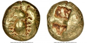 IONIA. Ephesus. Ca. 600-550 BC. EL third-stater or trite (12mm, 4.64 gm). NGC Choice Fine 4/5 - 4/5. 'Primitive' bee, viewed from above / Two incuse s...