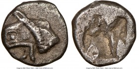 IONIA. Phocaea. Ca. 521-478 BC. AR diobol or hemidrachm (10mm). NGC Choice VF. Head of Griffin left / Quadripartite incuse square. SNG Keckman 300. SN...