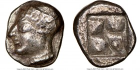 IONIA. Phocaea. Ca. late 6th-early 5th centuries BC. AR diobol or hemidrachm (10mm). NGC Choice VF, scratches. Archaic styled female head left, wearin...