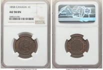 Victoria Cent 1858 AU58 Brown NGC, London mint, KM1. Chocolate brown with some red showing in recessed areas. 