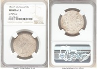 Victoria 50 Cents 1872-H AU Details (Stained) NGC, London mint, KM6.