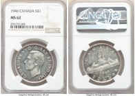George VI Dollar 1946 MS62 NGC, Royal Canadian mint, KM37. Boldly struck, semi-prooflike fields. 