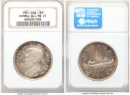 George VI Dollar 1951 MS65 NGC, Royal Canadian mint, KM46. Normal waterline variety. Colorful toning. 