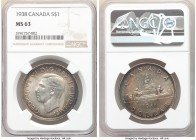 "George VI 4-Piece Lot of Certified Dollars NGC, 1) Dollar 1938 - MS63, Royal Canadian mint, KM37 2) ""Pointed 7"" Dollar 1947 Dot - AU58, Royal Canadian..."