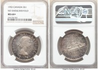 Elizabeth II Dollar 1953 MS64+ NGC, Royal Canadian mint, KM54. Without shoulder fold. Multi-colored mottled toning. 