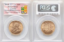 George V gold 10 Dollars 1914 MS63 PCGS, Ottawa mint, KM27, Fr-3. Ex. Canadian Gold Reserve
