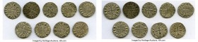 "Principality of Antioch 9-Piece Lot of Uncertified Bohemond Era ""Helmet"" Deniers ND (1163-1201) VF, 18mm. Average weight 0.92gm. Sold as is, no return..."