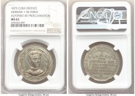 "Spanish Colony. Alfonso XII silvered-bronze ""Proclamation"" Medal 1875 MS62 NGC, Herrera-1, Medina-433 (in silver). 32mm. 
