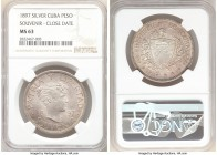 "Republic Souvenir Peso 1897 MS63 NGC, Gorham mint, KM-XM3 Mintage: 4,856 of Type III ""Close date"" with stars above baseline Variety. 