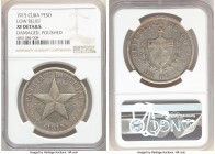 "Republic ""Low Relief"" Star Peso 1915 XF Details (Damaged, Polished) NGC, Philadelphia mint, KM15.2. First year of type and scarcer low relief variety...."