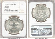 "Republic ""Star"" Peso 1933 MS62 NGC, Philadelphia mint, KM15.2.