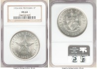 "Republic ""Star"" Peso 1934 MS64 NGC, KM15.2. Last year of type. 