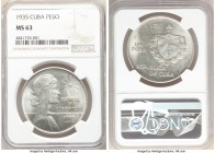 "Republic ""ABC"" Peso 1935 MS63 NGC, Philadelphia mint, KM22. Untoned white surfaces. 