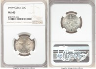 Republic 20 Centavos 1949 MS65 NGC, KM13.2. Mint bloom with satin surfaces, trace of light russet toning. 