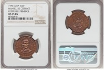 "Republic copper Trial Strike ""Carlos Manuel de Cespedes"" 100 Pesos 1977 MS65 Brown NGC, KM-Unl. (cf. KM43). Reeded edge. 