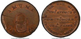 Middlesex. Spence's copper Farthing Token 1795 MS64 Brown PCGS, D&H-1116. Displaying a planchet-deep flan crack. 