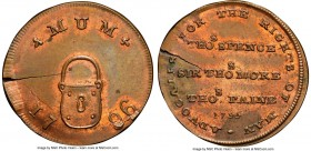 Middlesex. Spence's copper Farthing Token 1796 MS63 Red and Brown NGC, D&H-1116. Plain edge. Displaying a large planchet crack. 