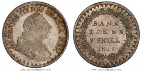 George III Bank Token of 3 Shillings 1811 MS65 PCGS, KM-Tn4, S-3769. Lustrous satin surface partially subdued with golden-brown and gray tones. 